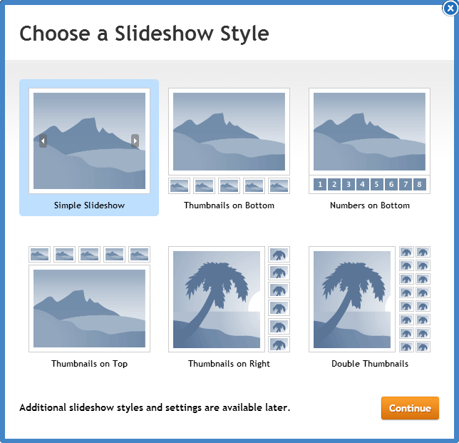 Choosing a slideshow style